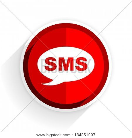 sms icon, red circle flat design internet button, web and mobile app illustration