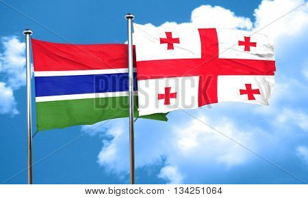 Gambia flag with Georgia flag, 3D rendering