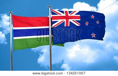 Gambia flag with New Zealand flag, 3D rendering