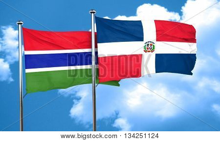 Gambia flag with Dominican Republic flag, 3D rendering