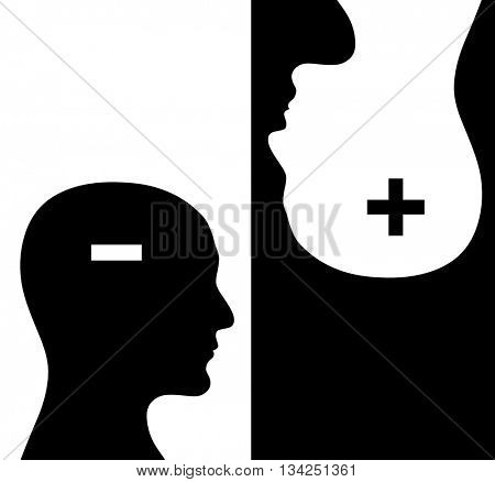 Contrast concept. Two humans profiles of white and black colors with brains in the plus and minus form. Isolated on black and white backgrounds. 3d render