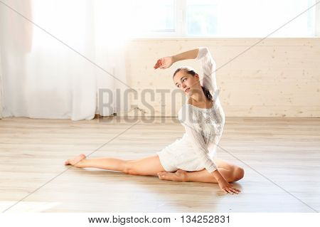 girl doing gymnastics fitness yoga background health sport