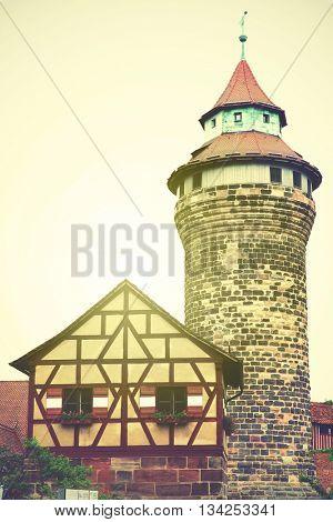 Sinnwell tower in Nuremberg Castle, Germany. Instagram style filtered image