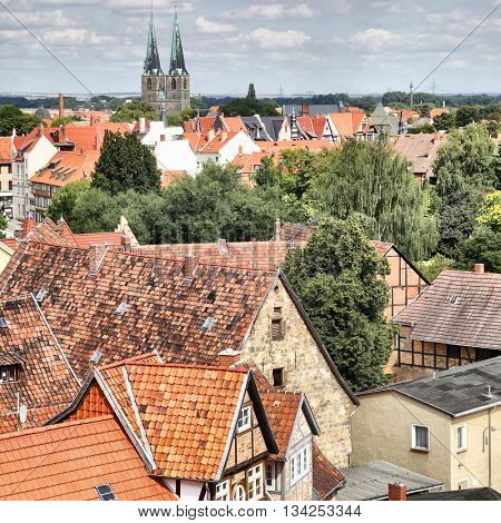 Panoramic view of Quedlinburg in Germany