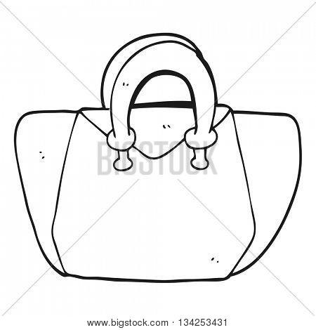 freehand drawn black and white cartoon handbag