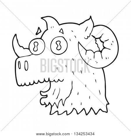 freehand drawn black and white cartoon ram head
