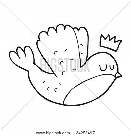 freehand drawn black and white cartoon flying christmas robin with crown