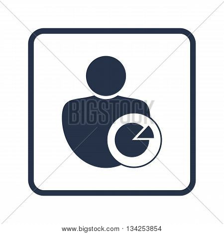 User Pie Icon In Vector Format. Premium Quality User Pie Symbol. Web Graphic User Pie Sign On Blue R
