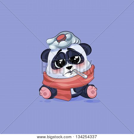 Vector Stock Illustration isolated Emoji character cartoon Panda sick with thermometer in mouth sticker emoticon for site, info graphic, video, animation, websites, e-mails, newsletters, reports, comics