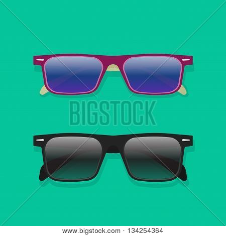 Sunglasses isolated vector collection, flat cartoon black and violet colorful sunglasses