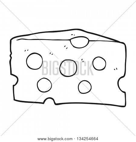 freehand drawn black and white cartoon cheese