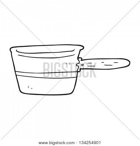 freehand drawn black and white cartoon saucepan