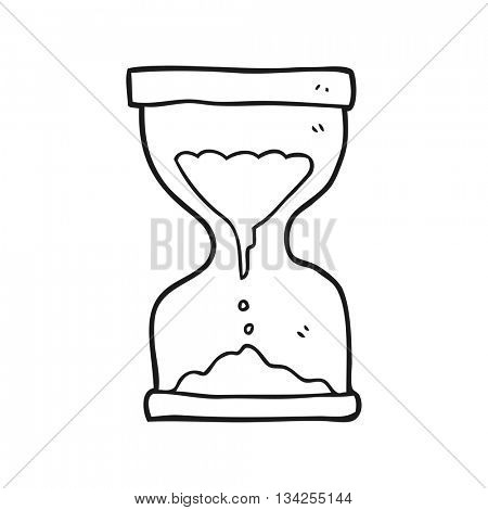 freehand drawn black and white cartoon sand timer hourglass