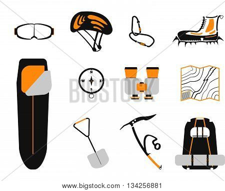 Сlimbing Set: Carbines, Ice Ax, Boots With Crampons, Backpack, Compass,  Sleeping Bag, Goggles, Bino