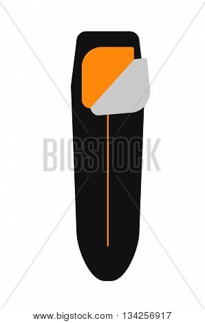 Camping Equipment. Sleeping Black Bag. Vector Illustration