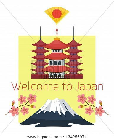 Vector japan travel banner or voucher background template. Concept for travel agency, japan culture flyer, banner design. Flat cartoon style