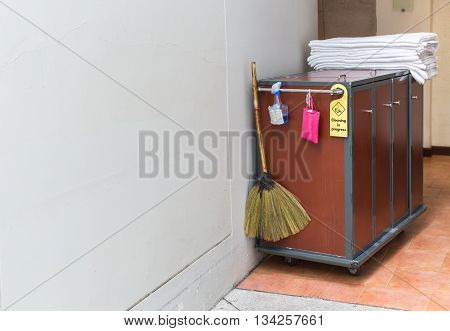 Maid's Cart With A Towel In Hotel
