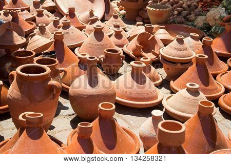 Traditional pottery being sold on a market in Marrakech Morocco
