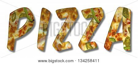 Pizza word with the letters as a meat a spicy pizza texture on an isolated white background with a clipping path for with and without the shadow