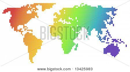 Map of the world, made from color dots