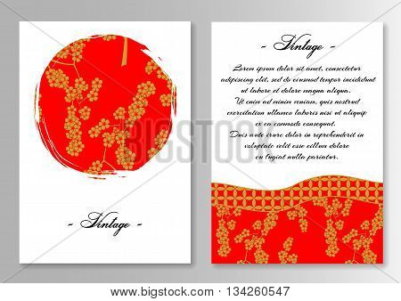 Template for brochure with sun and sakura in Japanese style. Vector illustration