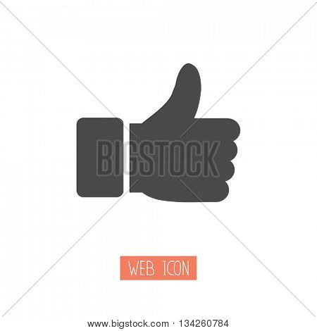 Thumbs up icon. Vector like icon. Social network vector icon for app, web site etc.