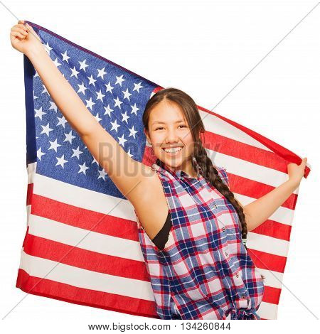 Happy Asian teenage girl holds American flag isolated on white background