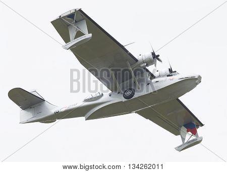 Leeuwarden, Netherlands - June 11: Consolidated Pby Catalina In Dutch Navy Colors Flying At The Roya