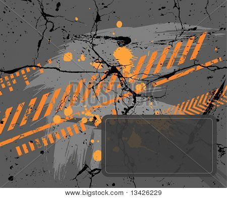 Abstract gray and orange painting on the wall
