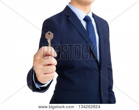Business man hold with key