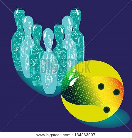Illustration vector of six skittles for bowling and bowling ball Vector illustration on a blue background