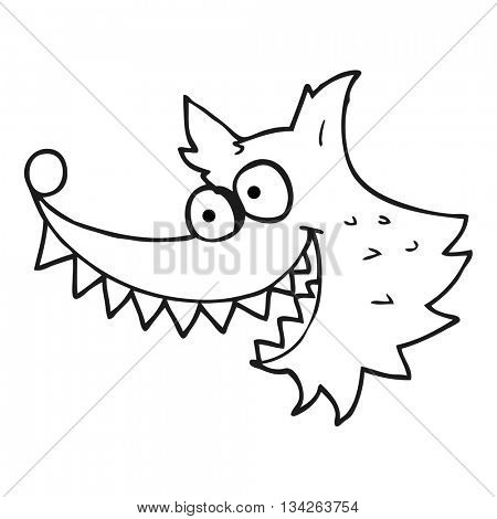 freehand drawn black and white cartoon crazy wolf