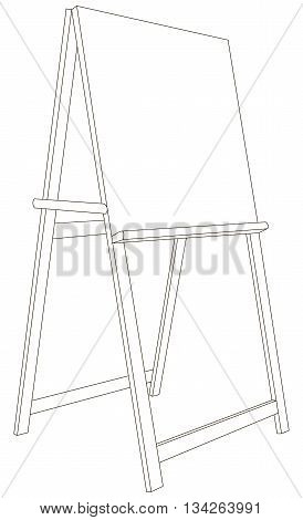 Vector illustration of emty and wooden easel