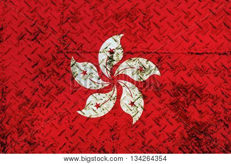 Hong kong Flag on steel wall texture background