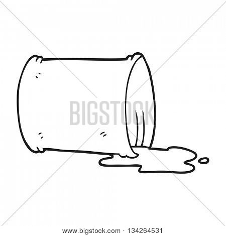 freehand drawn black and white cartoon spilled oil drum