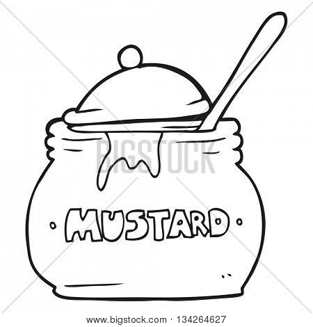 freehand drawn black and white cartoon mustard pot