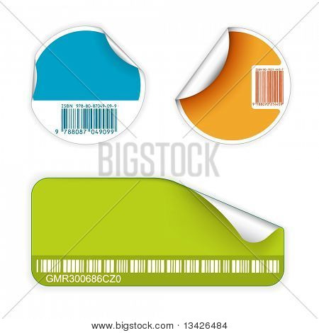 Set of fresh labels with bar codes(vivid colors) - see my portfolio for more labels