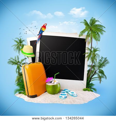 Empty photos on a sand. Tropical background. Traveling. 3D illustration or 3D rendering