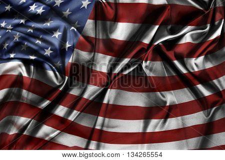 Closeup of silky American flag