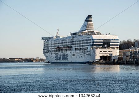 HELSINKI, FINLAND - circa MARCH 2016: Popular tourist ferry boat - Silja Line - at the port of Helsinki, Finland