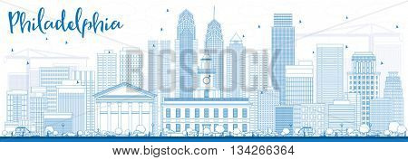 Outline Philadelphia Skyline with Blue Buildings. Business Travel and Tourism Concept with Philadelphia City Buildings. Image for Presentation Banner Placard and Web Site.