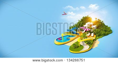 Tropical resort on flip-flops. Unusual illustration of vacation. 3D illustration or 3D rendering
