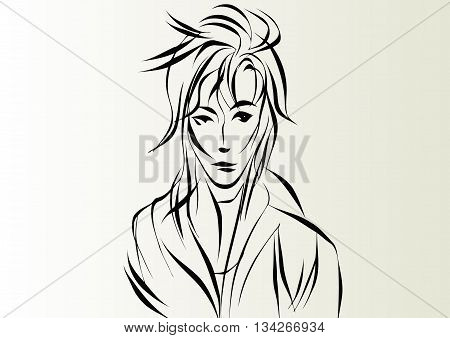 Beautiful woman with long disheveled hair, hand drawn line vector illustration.