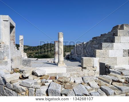 Ancient Demeter temple ruins in Naxos island