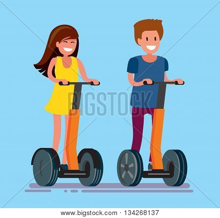 vector guy and girl ride electric scooter outdoor