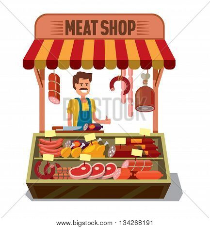 vector Butcher Shop with man on white background