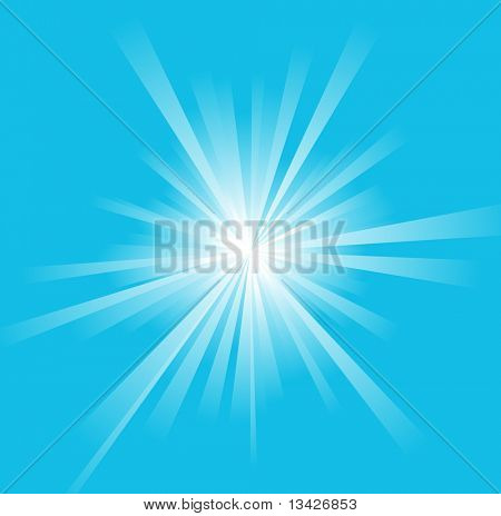 Sun on a blue sky - summer background