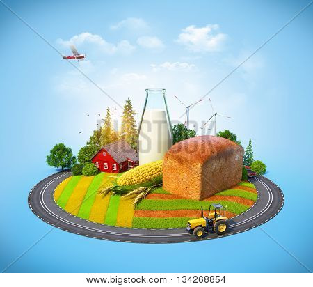 Farm with bread milk corn and house on a field. Agrarian background.3D illustration or 3D rendering. Free high resolution close up photo of black canvas fabric or cloth. This picture would make a great web background or great texture for scrapbooking.