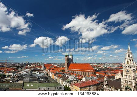 Munich Germany. Old town and blue sky