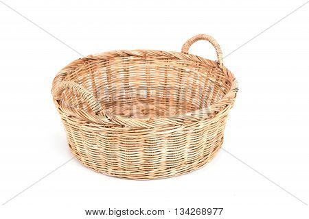 Handmade Rattan Basket Isolated On White Background